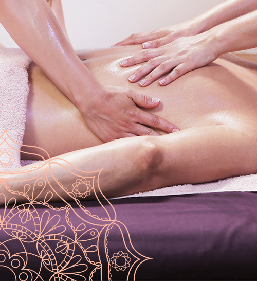 Tantric Massage hands on the skin